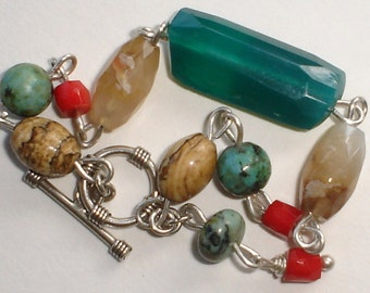 Peruvian Opal  Coral Turqouise  Sterling Silver Bracelet