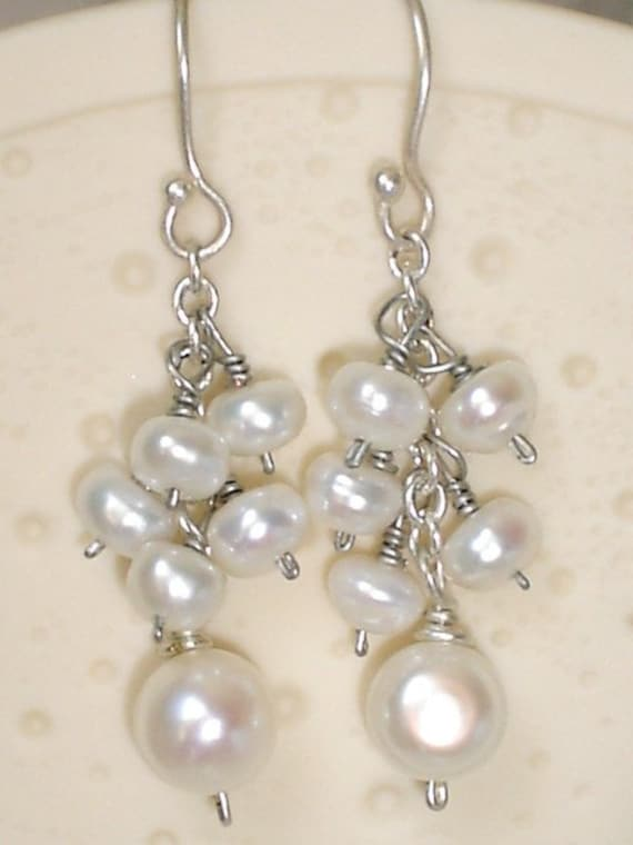 White Freshwater Pearl Earrings Sterling Silver Wire Wrapped Dangle