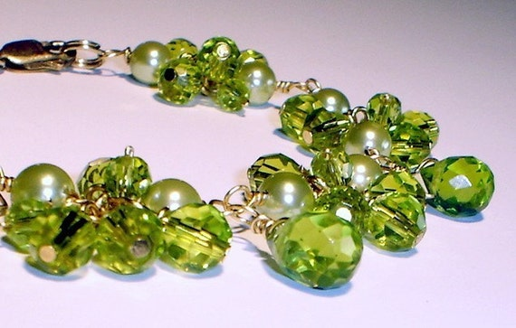 Peridot Mother of Pearls Bracelet 14K Gold Filled Wire Wrapped