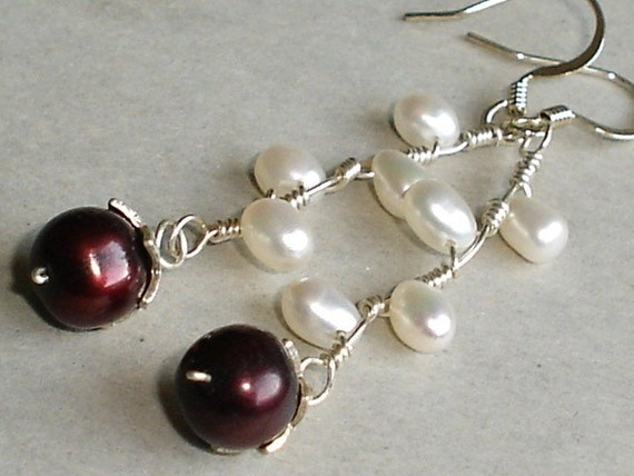 Pearl Earrings White and Burgundy Freashwater Pearl Sterling Silver Dangle Earrings Wire Wrapped