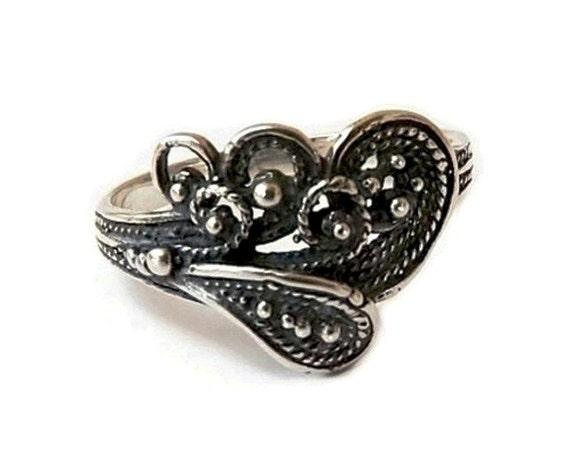 Filigree Heart Sterling Silver Ring