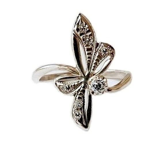 Diamond Ring Flower Sterling Silver Art Deco Engagement Ring