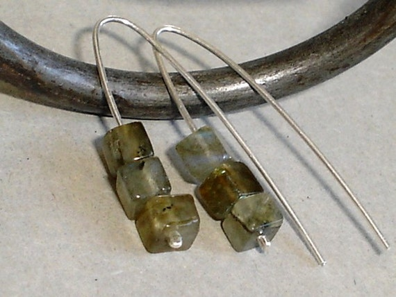 Labradorite Earrings Sterling Silver Blue Gray gemstone Drop Earrings