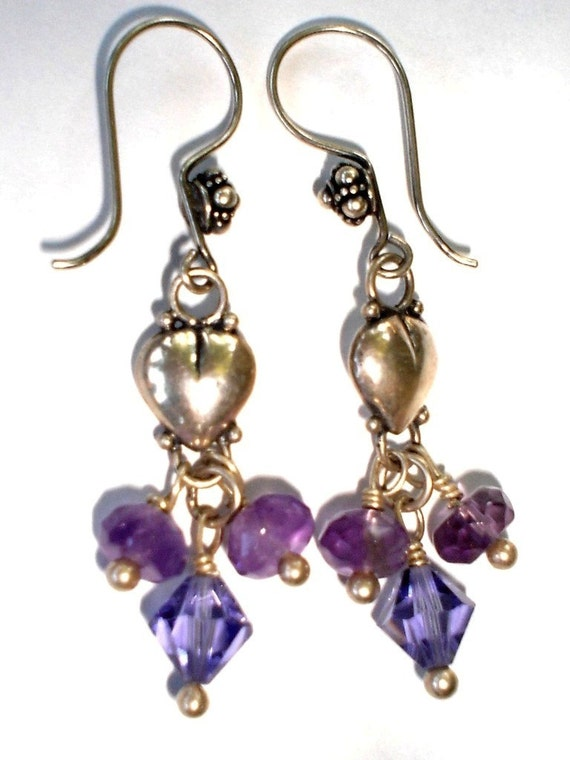 Heart Earrings,  Sterling Silver, Amethyst, Swarovski Crystal Earrings, Bridesmaid Gifts, Holiday, Birthstone Earrings