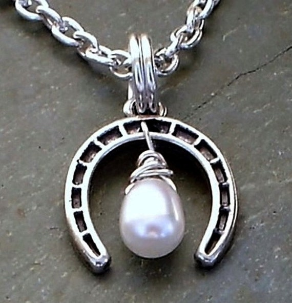 Lucky Horseshoe Necklace with White Frashwater Pearl Sterling silver Good Luck Handmade Jewelry