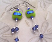 Tropical Fused Glass and Swarovski Earrings