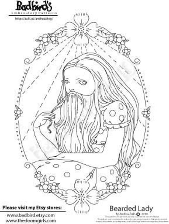 Bearded Lady, Embroidery Pattern