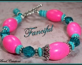 Pink Turquoise Bracelet Howlite Bali Silver Blue Crystal FANCIFUL