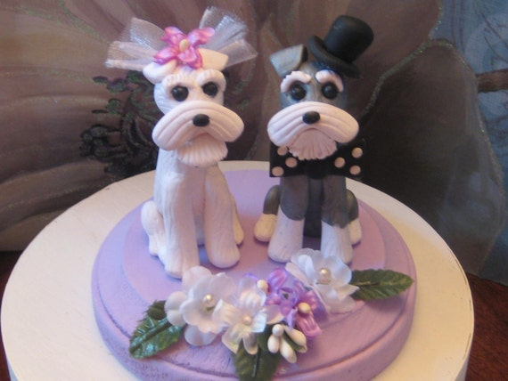 Schnauzer Terrier Dogs Duo  Wedding Cake Topper, Anniversary, Shower, Bridal, dog, animal SEE ALL PHOTOS