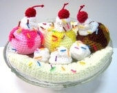 Ice Cream Crochet Pattern Food Crochet Pattern Dessert Pattern PDF Instant Download Banana Split Ice Cream