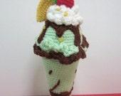 Sundae Crochet Pattern Dessert Pattern Crochet Food Pattern PDF Instant Download No-Glass Tall Minty Chocolate Ice Cream Sundae