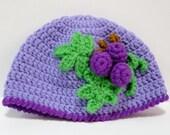 Beanie Crochet Pattern Crochet Accessories Pattern Hat Pattern PDF Instant Download Purple Grapes Hat or Beanie