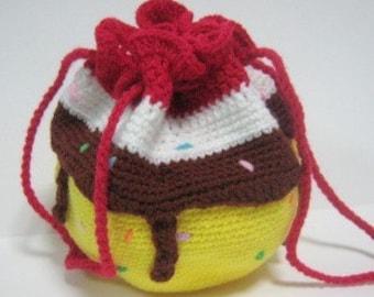 Bag Crochet Pattern Drawstring Purse Crochet Pattern PDF Instant Download Sundae-Inspired Drawstring Purse