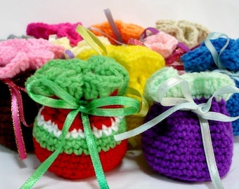 Drawstring Pouch Crochet Pattern Small Bag Crochet Pattern PDF Instant Download Super Mini Drawstring Pouches