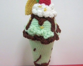 Sundae Crochet Pattern Dessert Pattern Crochet Food Pattern PDF Instant Download No-Glass Tall Minty Chocolate Ice Cream Sundae