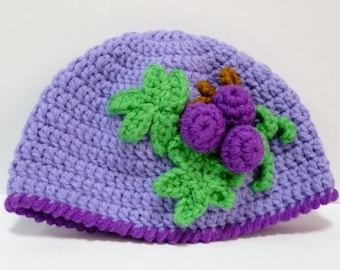 Beanie Crochet Pattern Crochet Accessories Pattern Hat Pattern PDF Instant Download Purple Grapes Hat or Beanie