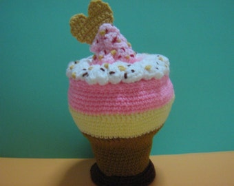 Sundae Crochet Pattern Food Crochet Pattern PDF Instant Download No-Glass Neapolitan Sundae