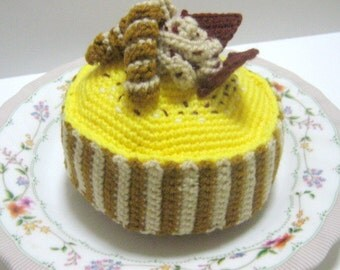 Cake Crochet Pattern Crochet Food Pattern PDF Instant Download Mocha Coffee Cake with Lemony Yellow Frosting