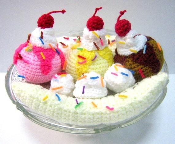 Ice Cream Crochet Pattern Food Crochet Pattern Dessert Pattern PDF Instant Download Banana Split Ice Cream