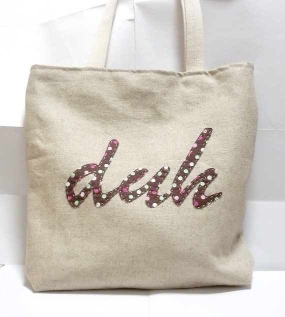 Bag Sewing Pattern Reversible Tote Bag with 'duh' applique and exterior back pocket plus two extra word templates PDF Instant Download