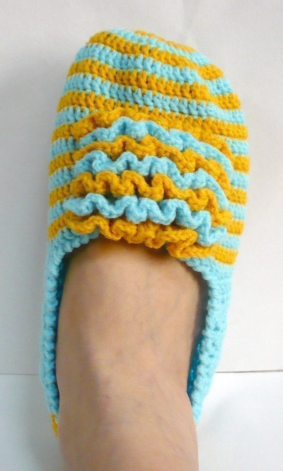 Slippers Crochet Pattern Adult Shoes Crochet Pattern PDF Instant Download Frilly Front Blue with Yellow Slippers