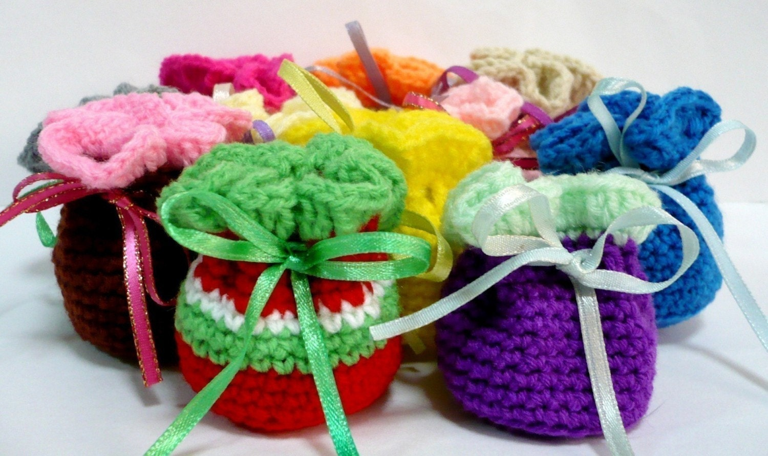 Mini Crochet Bag : Drawstring Pouch Crochet Pattern Small Bag Crochet by melbangel