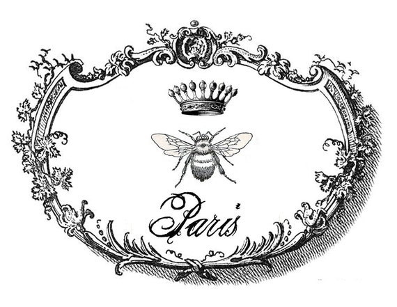 PARIS BEE CROWN Printable Two Ways  Paper Fabric Wood Iron on Transfers Cards Scrapbooking and so much more