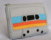 Mix Tape Pouch - Grey with Teal, Yellow and Orange Stripes