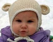 Cotton Mini Monkey Flap Hat - Oatmeal with White Trim 6-24 months