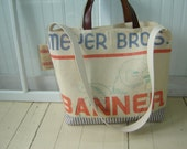 Large Canvas Grain Sack Tote/Day Trip/Weekend Bag with Leather Handles and Burlap Jute Trim