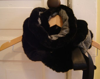 Ruffled Faux Fur Scarf/Neck Wrap Snood Re-Constructed/Re-Purposed