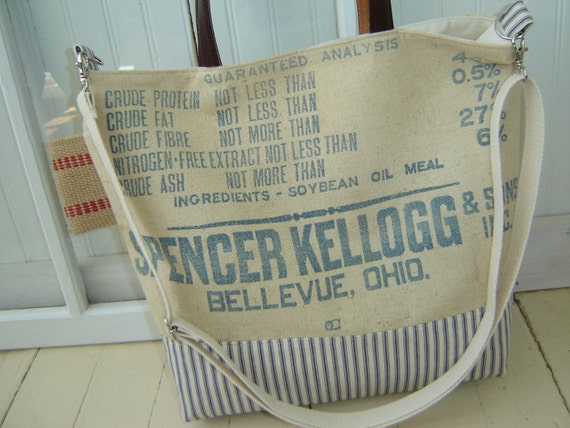 Vintage Canvas Feed/Grain Sack Tote Bag with Leather Handles with Burlap Jute Trim and Ticking