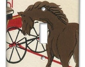 Country Horse and Wagon 1950s Vintage Wallpaper Switch Plate