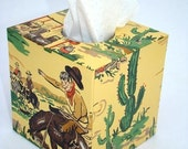 Gabby Hayes Cowboy 1950's Vintage Wallpaper Tissue Box Cover