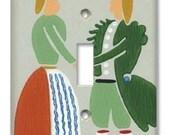 Fancy Dutch Dandies 1950's Vintage Wallpaper Switch Plate