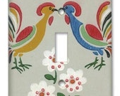 Kissing Cluckers 1950's Vintage Wallpaper Switch Plate