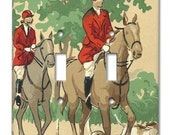 Equestrian Horse and Hound 1940's Vintage Wallpaper Double Switch Plate
