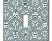 Switch Plate 1920's Antique Wallpaper Slate Blue and White Geometric Floral Country Colonial