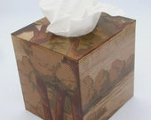 Craftsman Scenic Floral 1920's Antique Wallpaper Tissue Box Cover