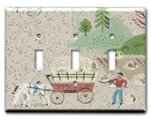 Working the Farm 1950's Vintage Wallpaper Triple Switch Plate