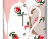Tea and Roses 1940's Vintage Wallpaper Switch Plate