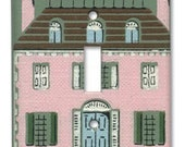Pink House Colonial 1950's Vintage Wallpaper Switch Plate