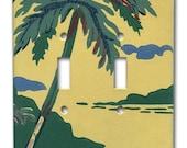 Moonlit Island 1950's Vintage Wallpaper Double Switch Plate
