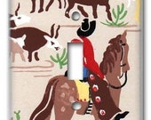 Home on the Range 1950's Vintage Wallpaper Switch Plate