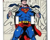 Superman or Clark Kent 1970's Vintage Wallpaper Double Switch Plate
