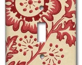 Shantung Red Leaf 1940's Vintage Wallpaper Switch Plate