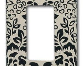 Black and White Floral 1950's Vintage Wallpaper Decora Switch Plate