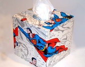Superman Saves the Universe 1970's Vintage Wallpaper Tissue Box Cover