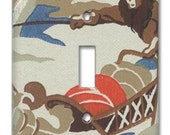 Mushing Mountie RCMP 1950's Vintage Wallpaper Switch Plate