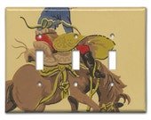 Bronco Busted Cowboy 1940's Vintage Wallpaper Triple Switch Plate